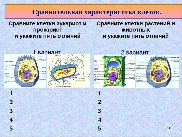 * 1 2 3 4 5 Сравнительная характеристика клеток. 1 2 3 4 5  Сравните клетки...