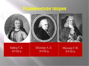 Норманнская теория Байер Г.З. XVIII в. Шлецер А.Л. XVIII в. Миллер Г.Ф. XVIII
