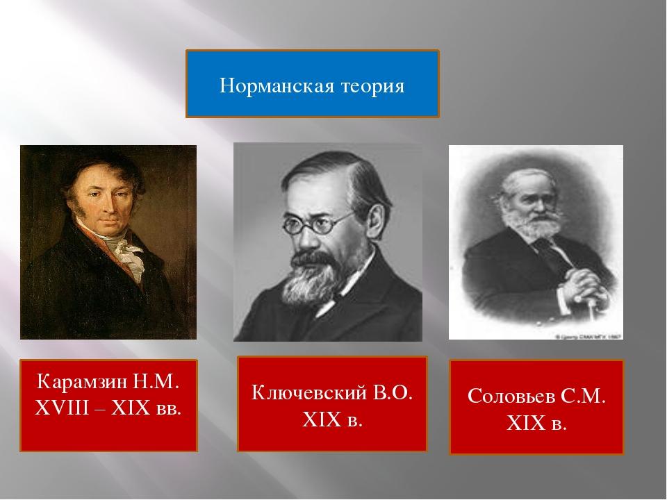 Ключевский В.О. XIX в. Соловьев С.М. XIX в. Норманская теория Карамзин Н.М. X...
