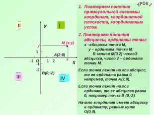 У Х 1 1 -1 -1 I II III IV 1. Повторяем понятия прямоугольной системы координа