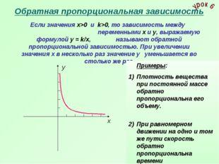 Обратная пропорциональная зависимость Если значения х>0 и k>0, то зависимость