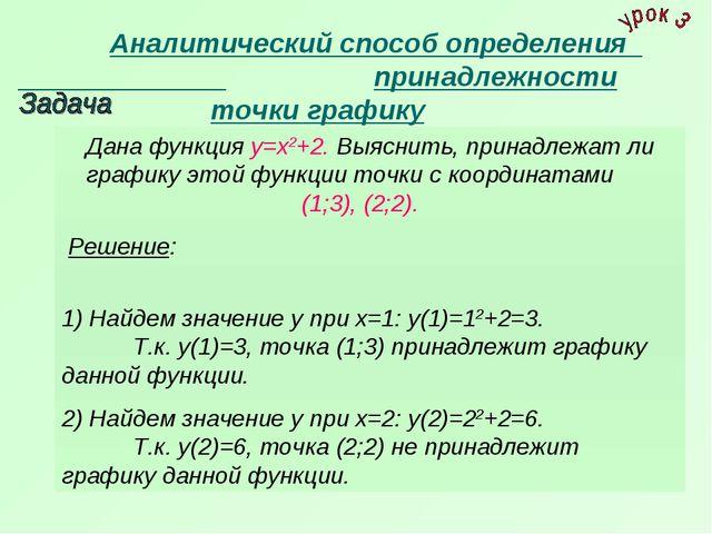 Аналитический способ определения принадлежности точки графику Дана функц...