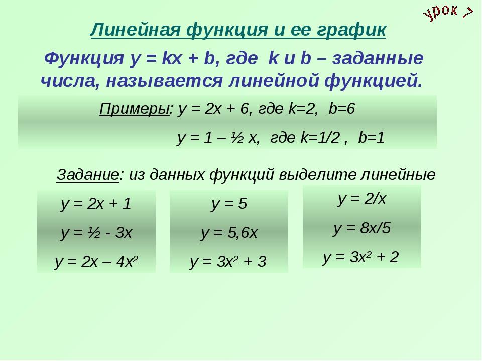 Линейная функция и ее график Функция у = kх + b, где k и b – заданные числа,...