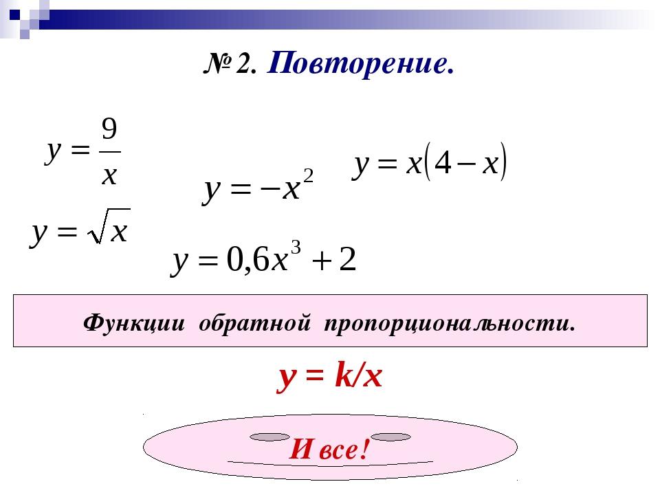 № 2. Повторение. Функции обратной пропорциональности. у = k/x И все!