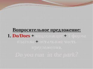 Вопросительное предложение: 1. Do/Does + подлежащее + 1 форма глагола + остал