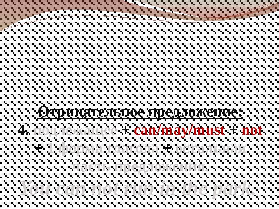 Отрицательное предложение: 4. подлежащее + can/may/must + not + 1 форма глаго...