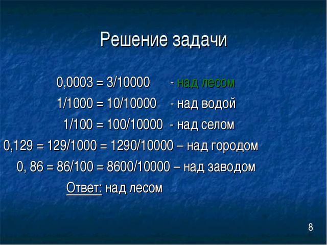 Решение задачи 0,0003 = 3/10000 - над лесом 1/1000 = 10/10000 - над водой 1/1...
