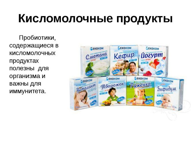 Кисломолочные продукты Пробиотики, содержащиеся в кисломолочных продуктах по...