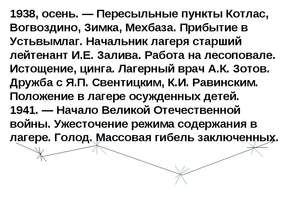 1938, осень. — Пересыльные пункты Котлас, Вогвоздино, Зимка, Мехбаза. Прибыти...