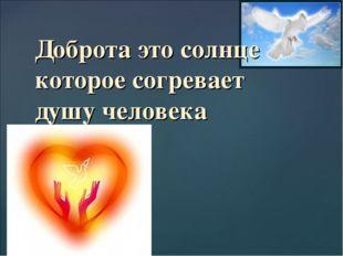 Доброта это солнце которое согревает душу человека {
