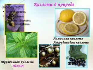 Кислоты в природе Муравьиная кислота НСООН Лимонная кислота Аскорбиновая кисл