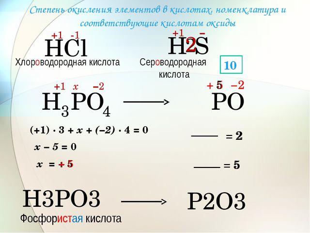 Н Сl +1 -1 Н +1 − 2 S 2 Н 3 РО 4 +1 −2 х (+1) · 3 + х + (−2) · 4 = 0 х − 5 =...