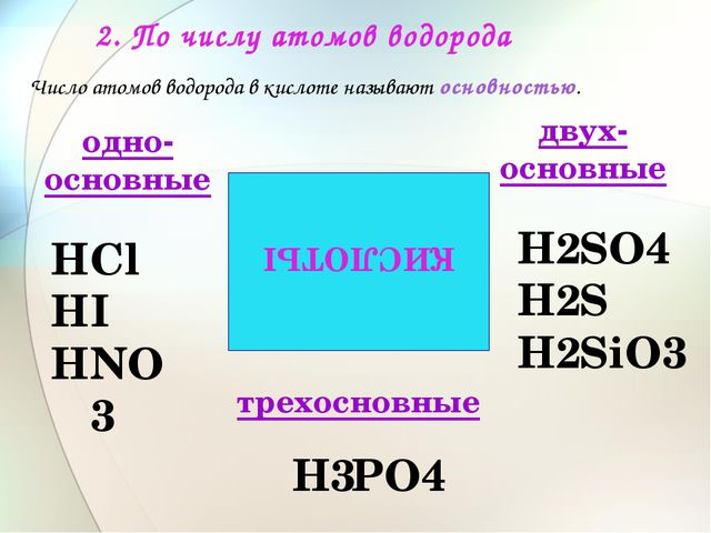 2. По числу атомов водорода КИСЛОТЫ Сl I NО3 SО4 S SiО3 РО4 одно- основные дв...