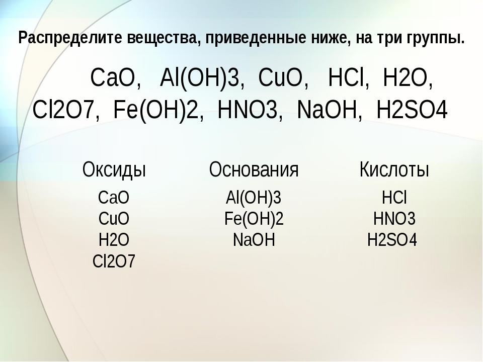 Распределите вещества, приведенные ниже, на три группы. СаО, Аl(ОН)3, СuО, НС...