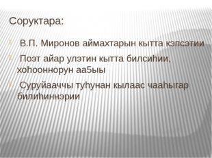 Соруктара: В.П. Миронов аймахтарын кытта кэпсэтии Поэт айар улэтин кытта билс