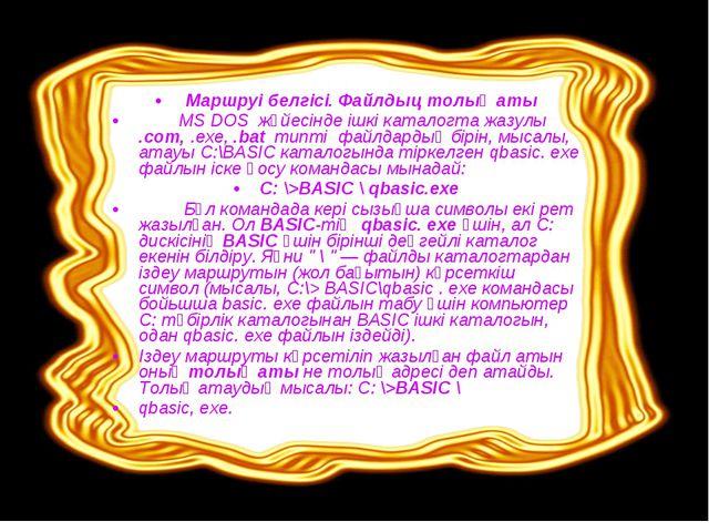 Маршруі белгісі. Файлдыц толық аты MS DOS жүйесінде ішкі каталогта жазулы .с...