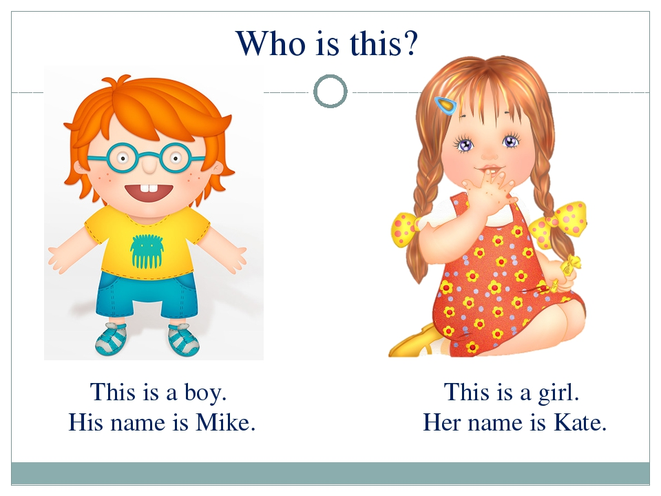 This is a boy. His name is Mike. This is a girl. Her name is Kate. Who is this?
