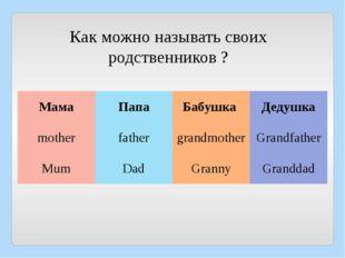 Как можно называть своих родственников ? Мама Папа Бабушка Дедушка mother fat