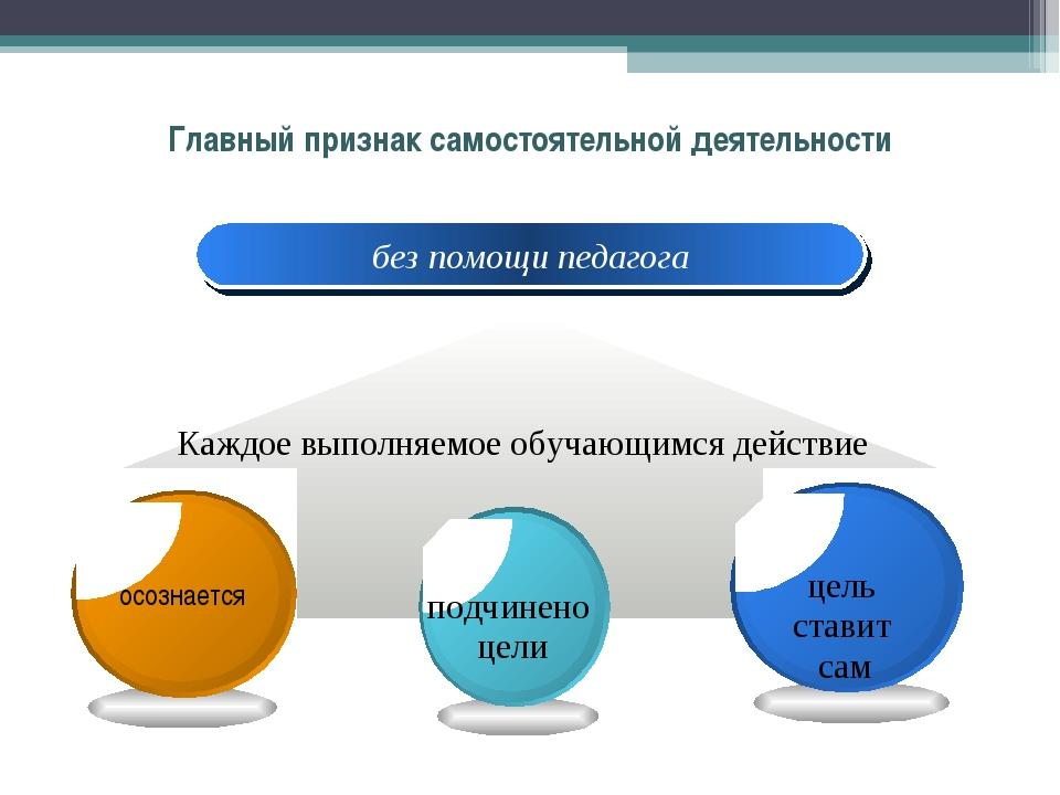 Главный признак самостоятельной деятельности без помощи педагога Каждое выпол...