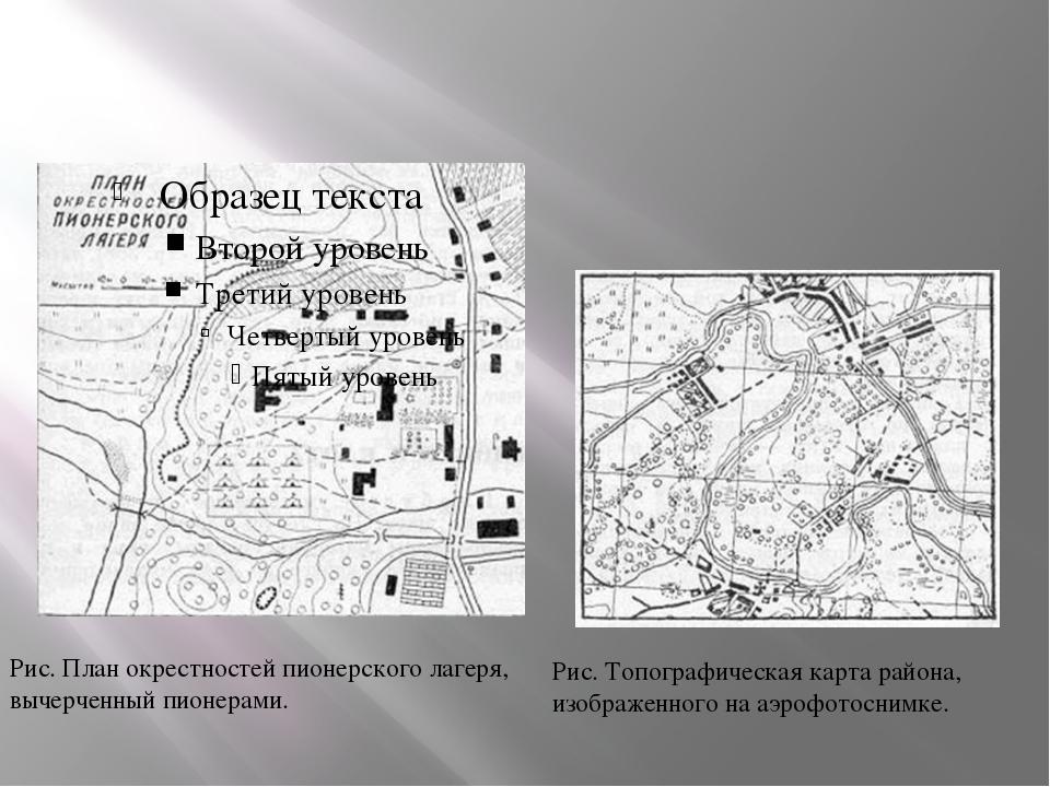 Рис. Топографическая карта района, изображенного на аэрофотоснимке. Рис. Пла...
