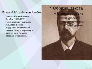 Николай Михайлович Альбов Николай Михайлович Альбов (1866-1897) Исследовал и
