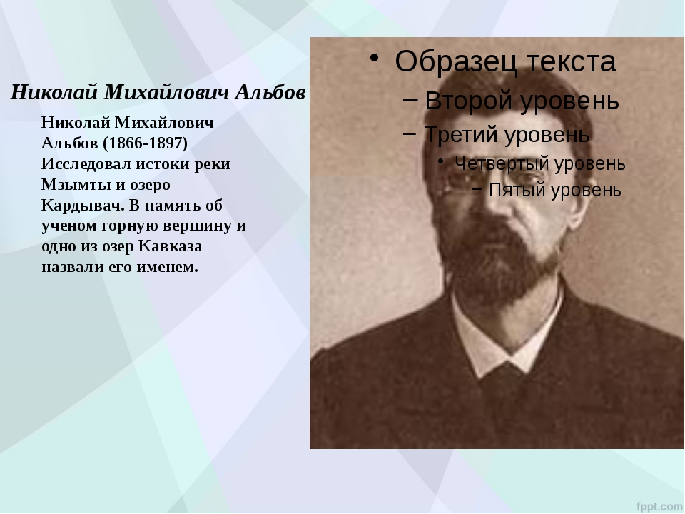 Николай Михайлович Альбов Николай Михайлович Альбов (1866-1897) Исследовал и...