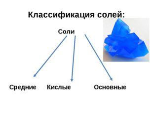 Классификация солей: Соли Средние Кислые Основные