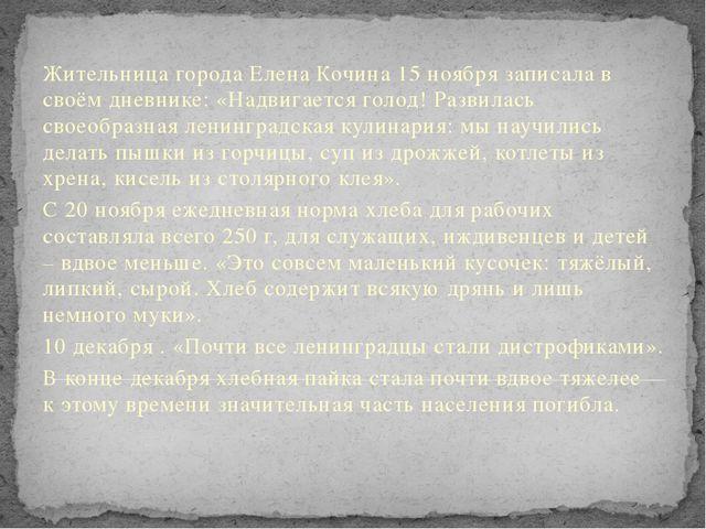 Жительница города Елена Кочина 15 ноября записала в своём дневнике: «Надвигае...