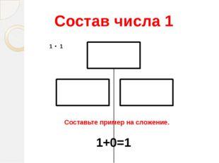 Состав числа 1 Составьте пример на сложение. 1+0=1
