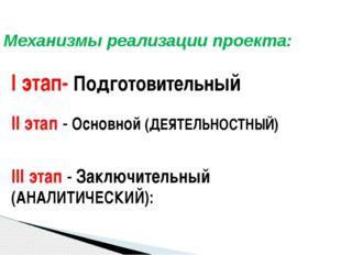 Механизмы реализации проекта: I этап- Подготовительный II этап - Основной (ДЕ