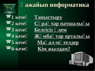 Ғажайып информатика 1 кезең Таныстыру 2 кезең Сұрақтар патшалығы 3 кезең Б
