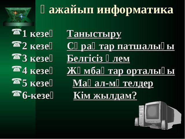 Ғажайып информатика 1 кезең Таныстыру 2 кезең Сұрақтар патшалығы 3 кезең Б...