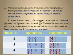 Принцип максимальной мультиплетности (правило Хунда):в пределах подуровня эле