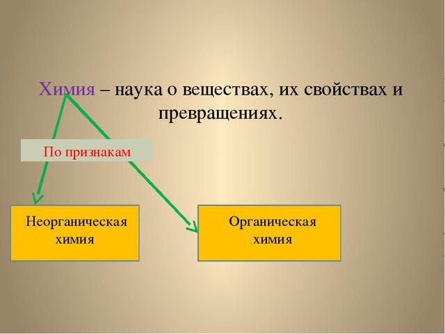 Химия – наука о веществах, их свойствах и превращениях. Неорганическая химия...