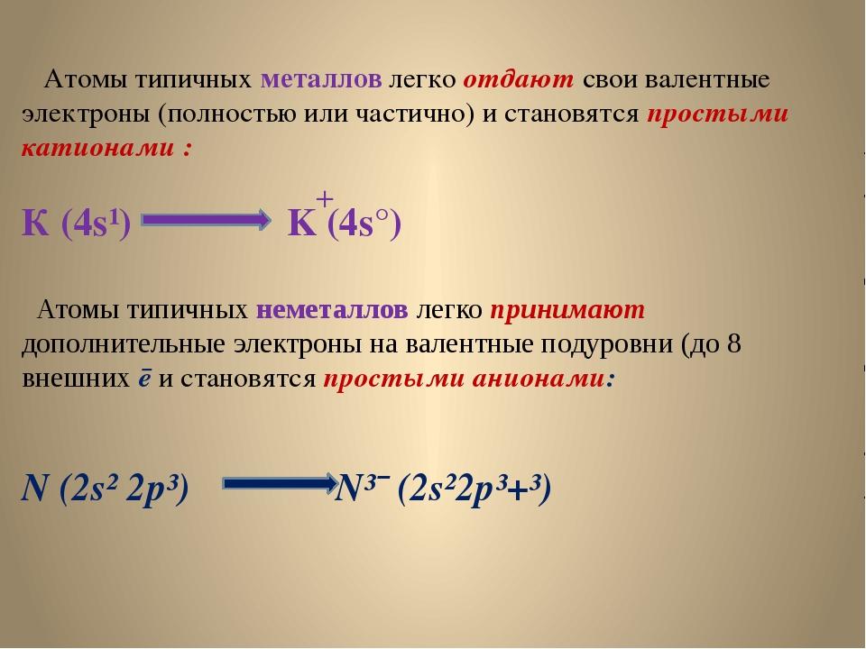 Атомы типичных металлов легко отдают свои валентные электроны (полностью или...