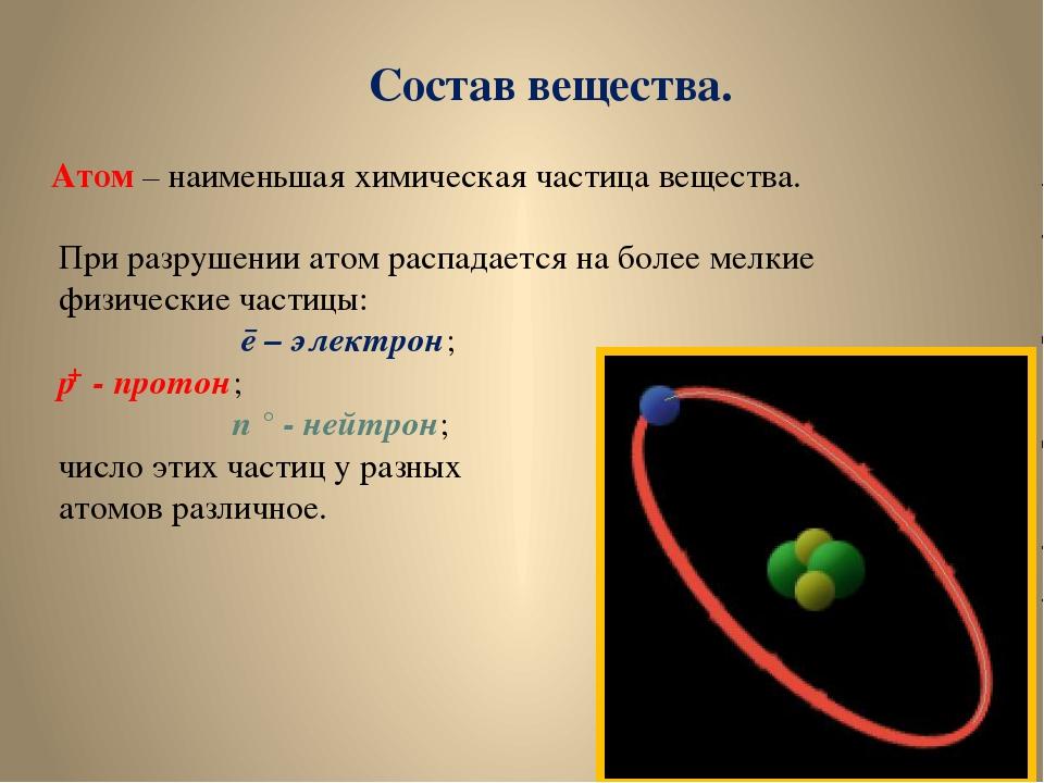 Состав вещества. Атом – наименьшая химическая частица вещества. При разрушени...