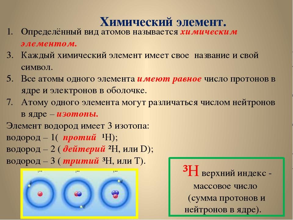 Определённый вид атомов называется химическим элементом. Каждый химический э...
