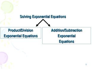 * Solving Exponential Equations Product/Division Exponential Equations Additi