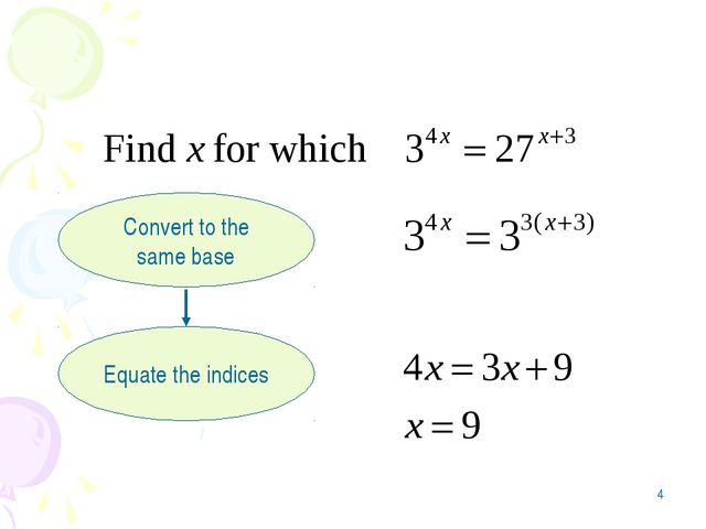 * Convert to the same base Equate the indices