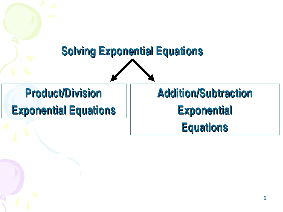 * Solving Exponential Equations Product/Division Exponential Equations Additi...
