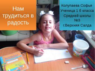Нам трудиться в радость Колупаева Софья Ученица 1 б класса Средней школы №3 г