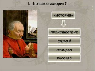 I. Что такое история? «ИСТОРИЯ» ПРОИСШЕСТВИЕ СЛУЧАЙ СКАНДАЛ РАССКАЗ