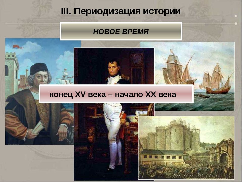 III. Периодизация истории НОВОЕ ВРЕМЯ конец XV века – начало XX века