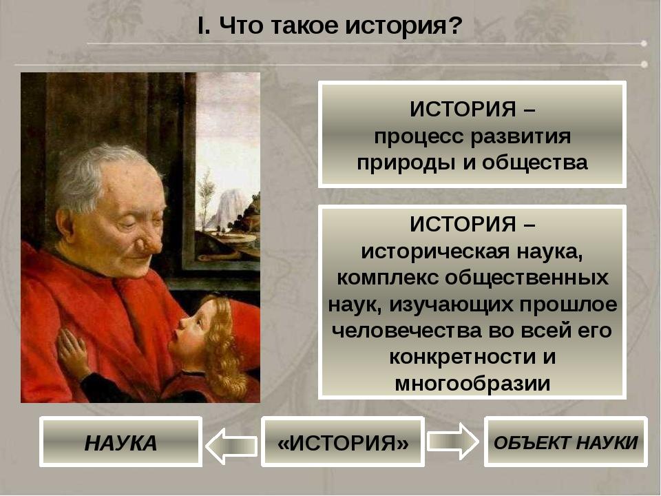 I. Что такое история? ИСТОРИЯ – процесс развития природы и общества ИСТОРИЯ –...