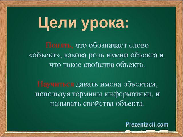 Цели урока: Понять, что обозначает слово «объект», какова роль имени объекта...