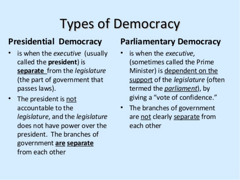 presidential vs parliamentary Presidential versus parliamentary government 95 the breakdown of a number of latin american democracies in the 1960s and 1970s supported linz's case for the failure of presidential government.