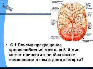 С 1 Почему прекращение кровоснабжения мозга на 5–8 мин может привести к необ
