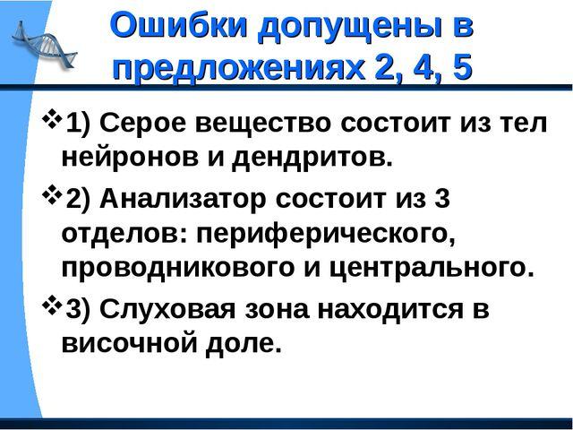 Ошибки допущены в предложениях 2, 4, 5 1) Серое вещество состоит из тел нейро...