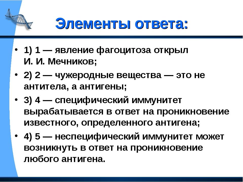 Элементы ответа: 1) 1— явление фагоцитоза открыл И.И.Мечников; 2) 2— чуже...
