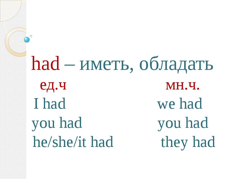 had – иметь, обладать ед.ч мн.ч. I had we had you had you had he/she/it had...
